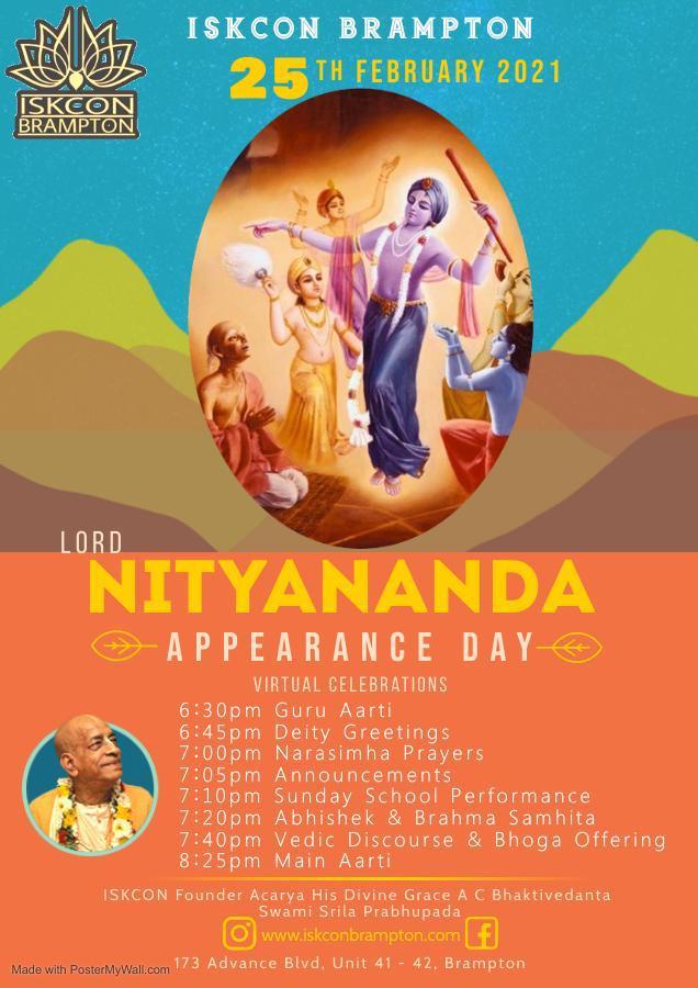 Lord Nityananda Appearance Day 2021