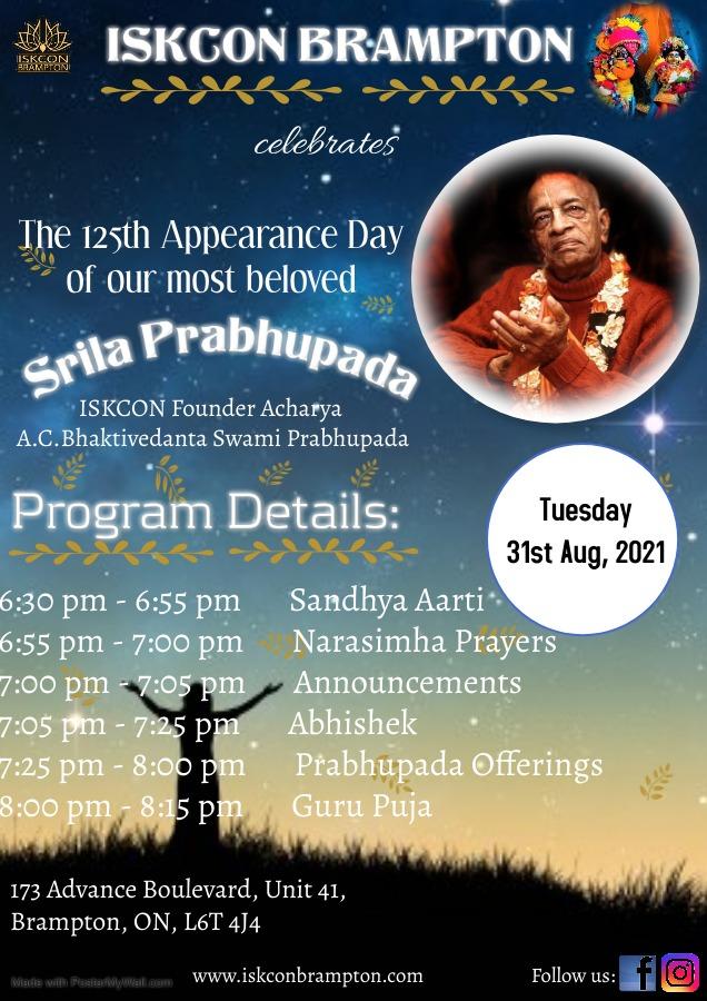 Srila Prabhupada's 125th Appearance Day